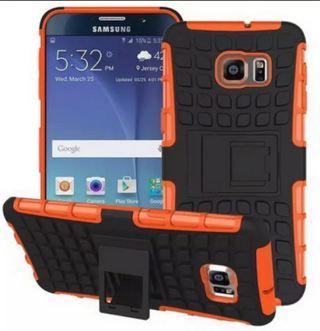 1 NEW SAMSUNG GALAXY s6 Orange HYBRID Case Scratch-Resistant Shock Absorbent Tire nonslip Grip Stand