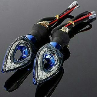 2PCs Glitzy Motorcycle 12LED Blinker Turn Signal Indicator Lights Lamps Blue
