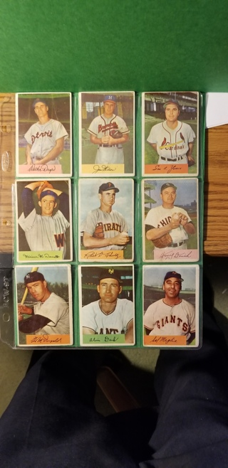 9 - 1954 bowman baseball cards read