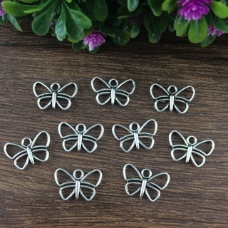 32PCs Tibet Silver Butterfly Charm Pendant Beaded Jewelry Findings
