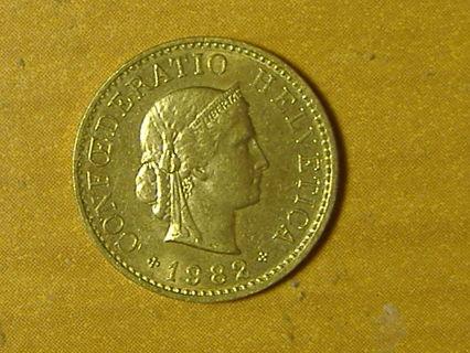 1982 Switzerland 5 rappen coin world foreign