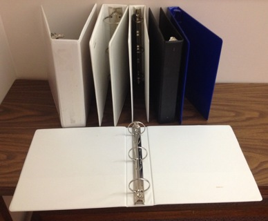ONE 1/2  inch 3-ring binders white only