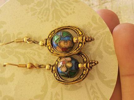 Pretty gold Tone cloisonne earrings