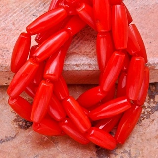 Natural Red Coral Beads *Barrel Shaped* GIN for Full Strand* Free Shipping