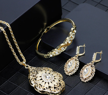 Gold Color Arabic Necklace Earring Cuff Bracelet Women Ethnic Wedding Jewelry Sets Morocco