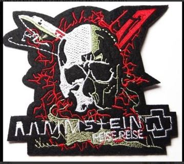 1 RAMMSTEIN BAND IRON ON PATCH METAL BAND MUSIC SKULL LOGO Applique embroidered FREE SHIPPING