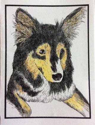 "Australian Shepherd - 5 x 7"" Art Card by Nina  - GIN ONLY"