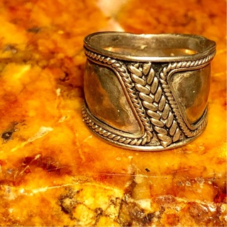 STERLING SILVER 925 CIGAR BAND RING with ROPE DETAILS...size 6