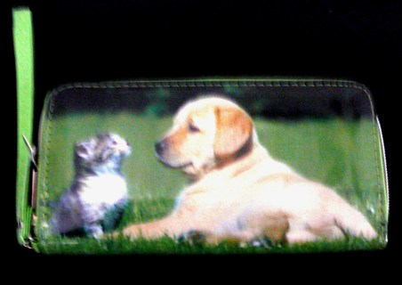 New Dog and Cat Green Wallet