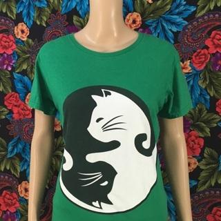 WOMEN'S Cat Ying Yang Shirt Graphic Top SIZE LARGE FREE SHIPPING