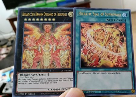2 ULTRA RARE HOLO YUGIOH CARDS HIERATIC SUN DRAGON AND HIERATIC SEAL OF SUPREMACY