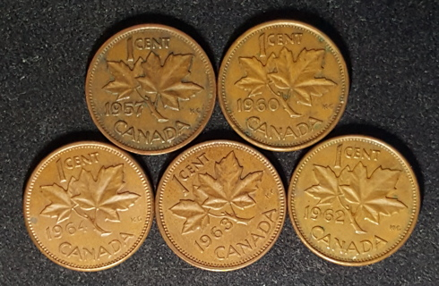 Lot 5 Coin Canada 1 Cent Penny 1957 1960 1962 1963 1964