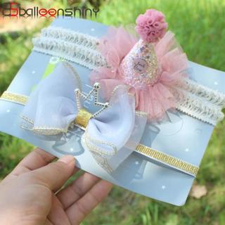 BalleenShiny Crown Elastic Headband Baby Girls Princess Lace Flower Birthday Hair Band Child Kids