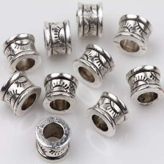 40Pcs Tibet Silver Carving Loose Spacer Charms Beads Jewelry Finding 6x4mm