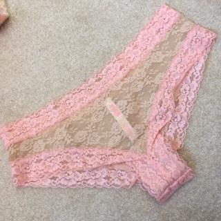 59eca88adc61 FREE: Victoria's Secret Pink MEDIUM sheer Lace CHEEKY panty beige/peach