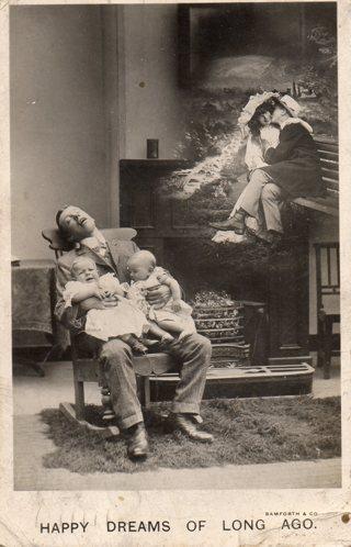 Vintage used postcard: 1907 Happy Dreams of Long Ago