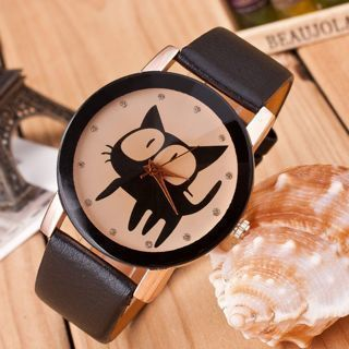 [GIN FOR FREE SHIPPING] Fashion Women Cat Crystal Imitation Leather Quartz Wrist Watch