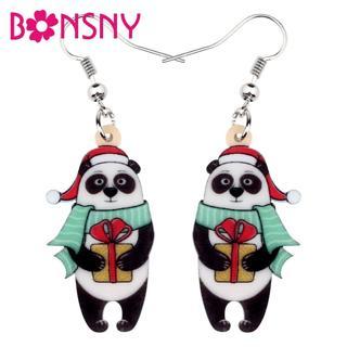 Bonsny Acrylic Christmas Scarf Hat Panda Gift Box Earrings Stud Drop Dangle Cartoon Jewelry For