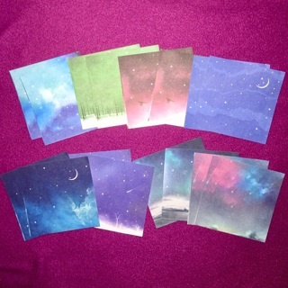 16 New Small Square Sheets of Galaxy / Outer Space Themed Paper.