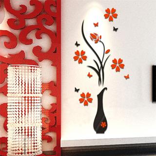 Modern Retro Home Decor Vase Plum Flower 3D Wall