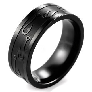8mm Stainless Steel Tungsten Ring Man Women Band W/Carve Hook Up Pattern Size 7