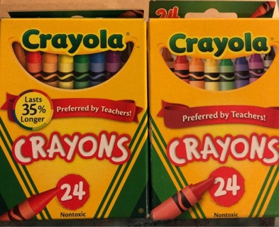 2 BN 24 CRAYOLA Crayon Boxes. Smooth, Bright Colors! Non Toxic. Projects Crafts School. 48 Total