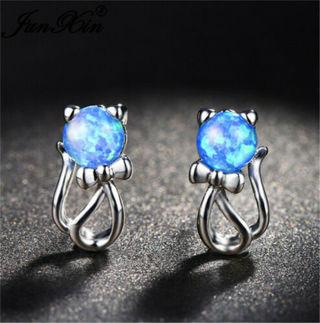 Woman 925 Silver Jewelry Blue Fire Opal Cat Charm Dangle Earrings
