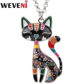 WEVENI Statement Enamel Cat Kitten Necklace Pendant With Specular Effect Chain Collar Souvenir New