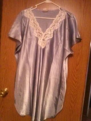 """ Plus Size Elegant Baby Blue Night Gown """