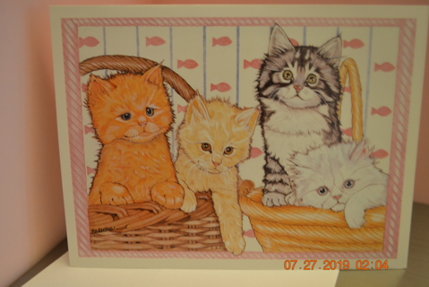 ****FOUR KITTENS IN TWO BASKETS BLANK CARD W/ENVELOPE***FREE SHIPPING
