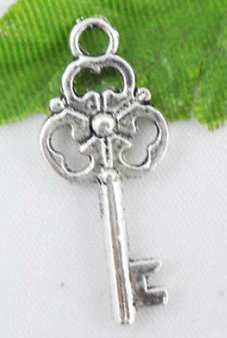 2 Antiqued Tibetan Silver Vintage Goth Steampunk Keys Charms For Earrings Crafts Scrapbooking New!