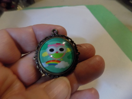 glass domed pendant charm owl and rainbow in brass mounting