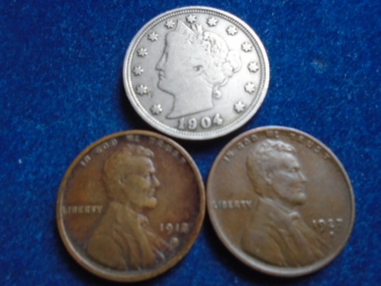 1904 1917-D & 1927-D OLD U.S. COINS FULL BOLD DATES!