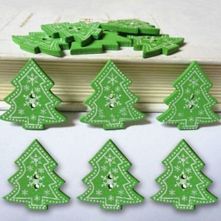 50PCs Christmas Tree Snowflake Wooden Buttons Sewing Scrapbook DIY Craft