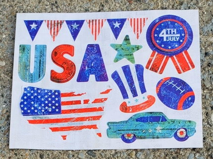 4 TH OF JULY GLITTER STICKERS  2 SHEETS