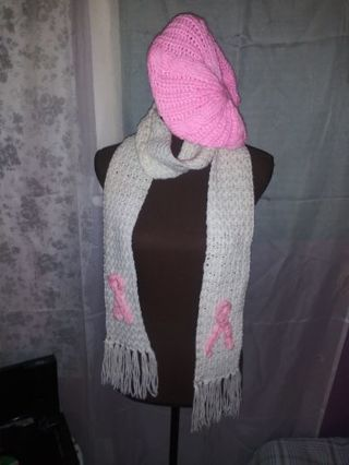 Breast cancer scarf and matching crochet beret!