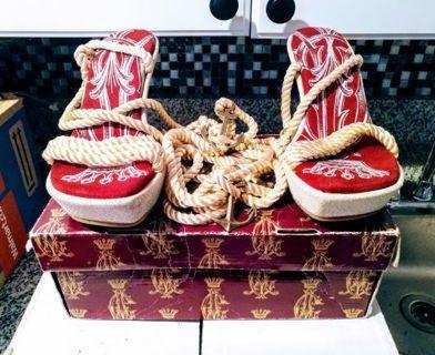 Christine Audigier Red Sailor Plat Woman Heel Sandals Size 7 Ladies With Bag & Original Box, NEW!