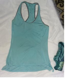 Aqua Blue Lululemon Athletic Tank Shirt Top Womens Large