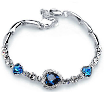 NEW 2018 - Fashion Women Lady Royal Ocean Heart Crystal Rhinestone Bangle Bracelet Gift Hot
