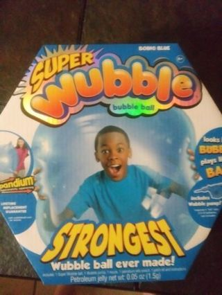 New.super wubble bubble ball. Looks like a bubble plays like a ball. Includes wubble pump