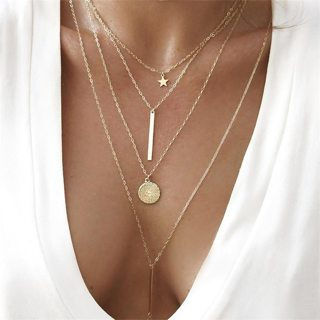 Classic Star Round Chain Vertical Pendant Multilayer Gold Necklace Women Fashion Banquet Party