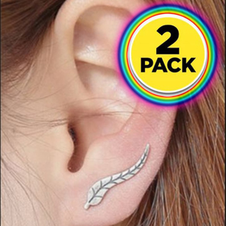 X2 NEW Exquisite Leaf Earrings Modern Minimal Fashion (2-PAIRS) FREE SHIPPING