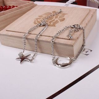 [GIN FOR FREE SHIPPING] 2Pcs Chain Couple Charm Moon Star Jewelry Anklet Bracelet