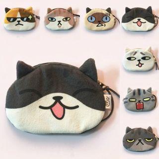 Cute Women 3D Animals Cat Kitten Face Zipper Case Coin Card Purse Wallet Purse