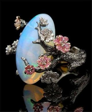 White Gold Plated Ring White Fire Opal Plum Flower Wedding Engagement Size 6-10