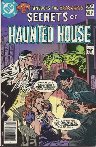 (CB-4) 1981 DC Comic Book: Secrets of Haunted House #34 { Frankenstien Monster app ]