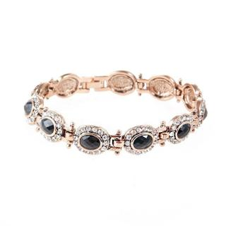 Luxurious Style Gold Plated Oval 4 Color Rhinestone Lady Bracelets 18 cm Jewelry
