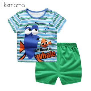 Causual Baby Boy Cartoon Clothes Pullover Green Short Sleeve T Shirt  Baby Products Clothing 2pcs