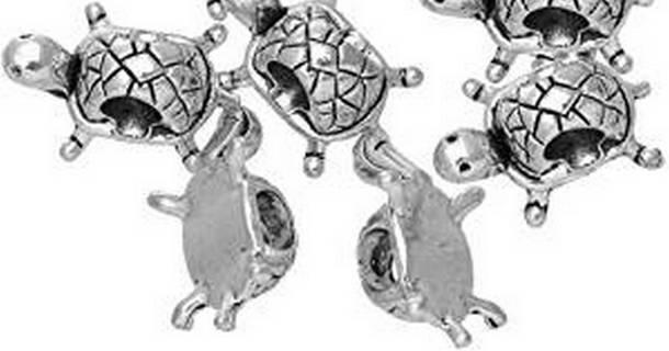 5pc Euro Antique Silver Turtle Spacer Beadss Lot 1 (PLEASE READ DESCRIPTION)