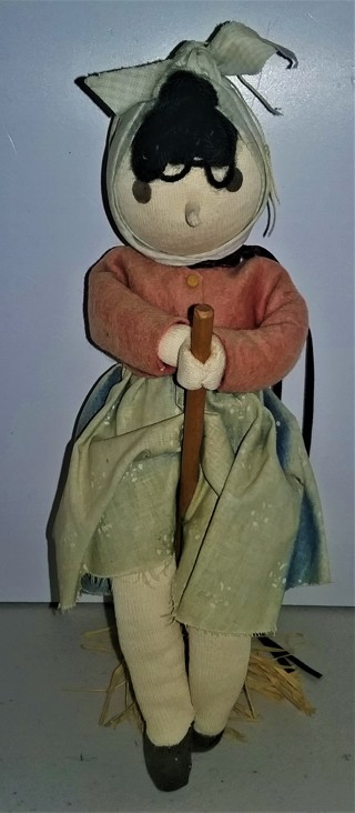 "Stuffed peasant doll with broom - no moving parts - 10"" tall - VG condition"